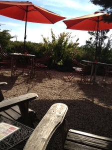 Adirondack chairs, with their wide arms, are perfect for tastings in Croteaux's yard.