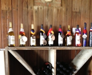An array of bottles with medals