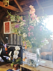 Flowers in the tasting room