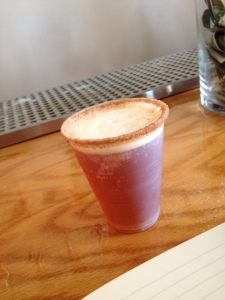 The special glass for the pumpkin ale, with a cinnamon sugar rim, which is not the tasting glass.
