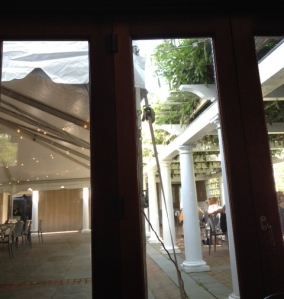 A view to the courtyard and pergola