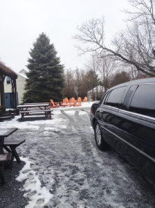 Despite the slushy roads, people still come to the wineries.