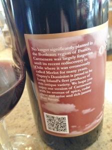 The label of the Carmenere explains the grape.