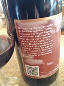 The label of the Carmenere explains the grape.