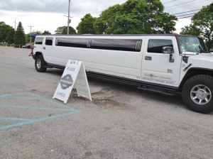 Our limo at the first stop:  Martha Clara.
