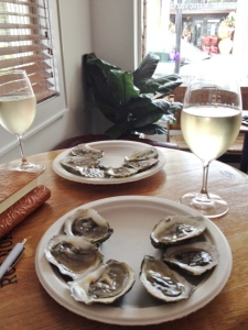 Our oysters, waiting for the lemon to arrive.  I had The Wild!, but I have to admit that my husband's choice of the Sauvignon Blanc was a better match.