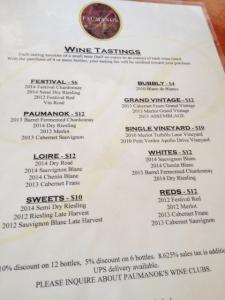 The menu of tastings