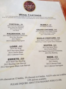 The menu of tastings