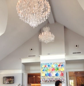 A view of the chandeliers
