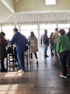 One view of the large porch tasting room.