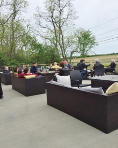 Despite the cool weather, several groups opted to sit outside.