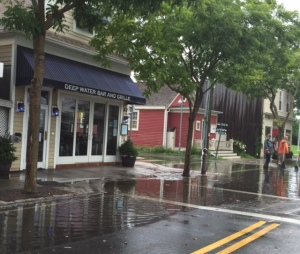 We couldn't resist this photo of Deep Water Grille and deep water on Front Street in Greenport.
