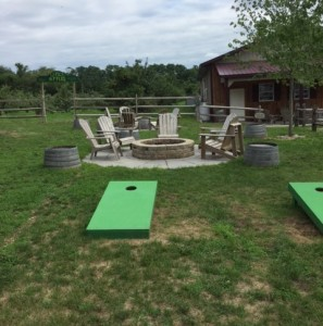 Bean bag toss is available--just ask at the bar for the beanbags.  Towards the back you can see the entrance to one of the orchards.