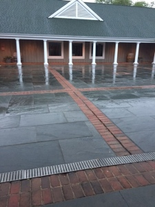 Our view was of the rain lashing the courtyard.
