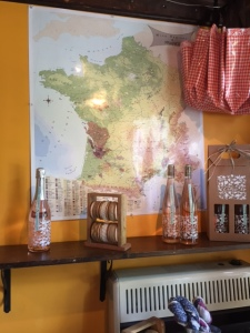 The map of France across from the cash register reminds everyone of the inspiration for these wines.