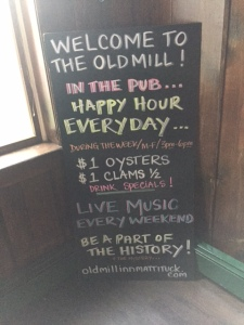 One of the better-kept secrets of the North Fork is the Old Mill Happy Hour, every day during the week. But if you want to go, better hurry. They close down for the winter.