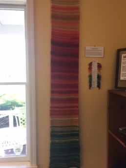 This wall hanging, made by Laura's mother, shows the daily temperatures in 2015.